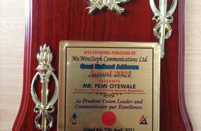 NAOSRE President, Femi Oyewale, Bags Leadership Award-